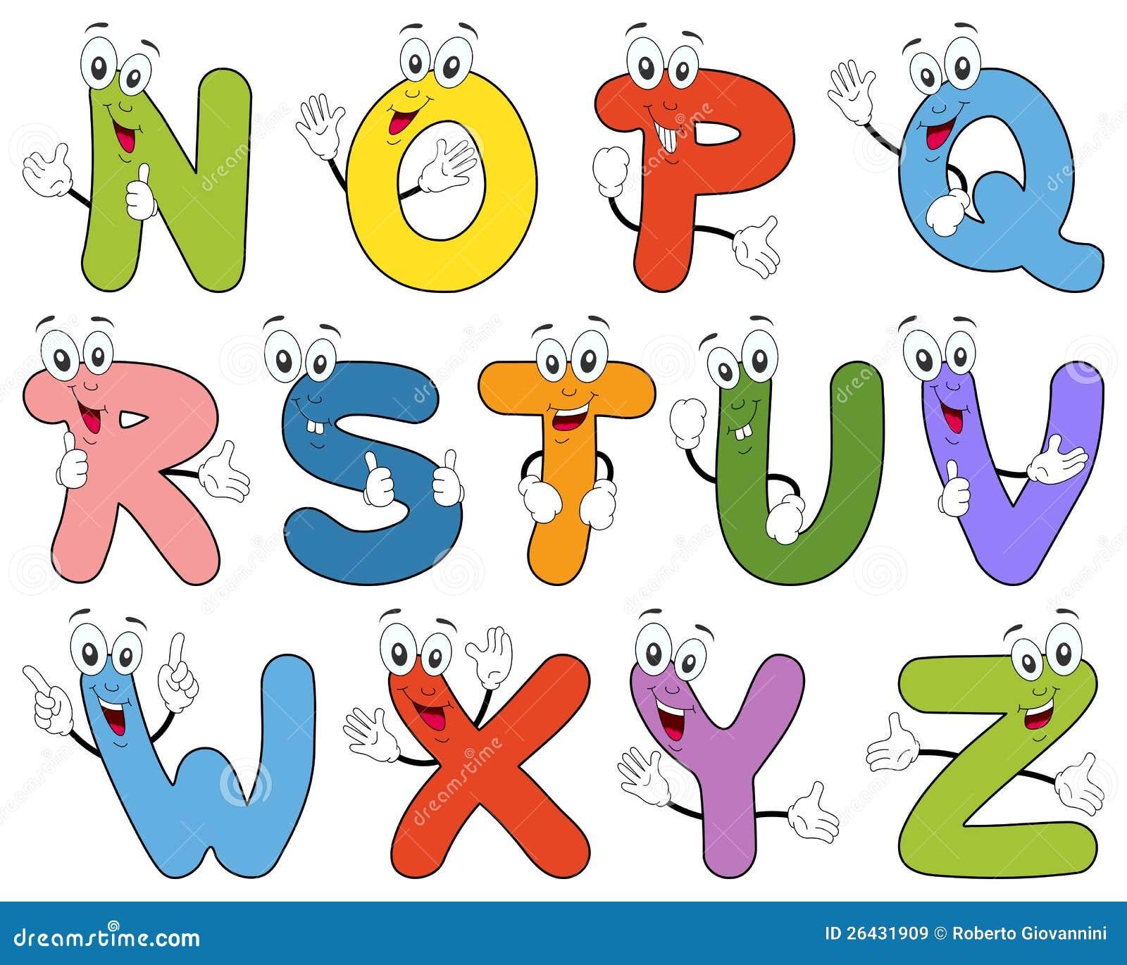 Caratteri N-Z di alfabeto del fumetto