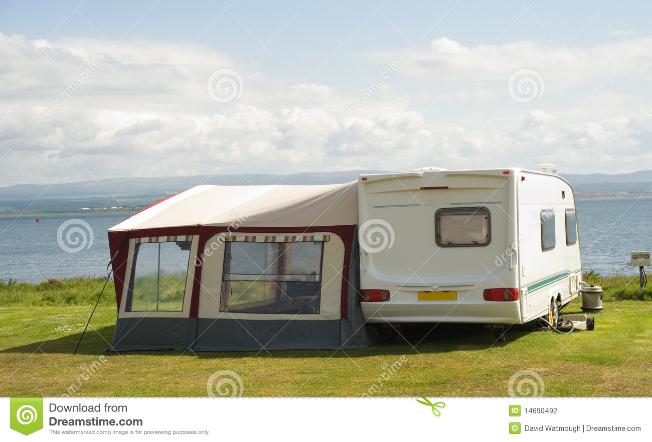 Caravan With Awning Stock Photo Image Of Seaside Canvas