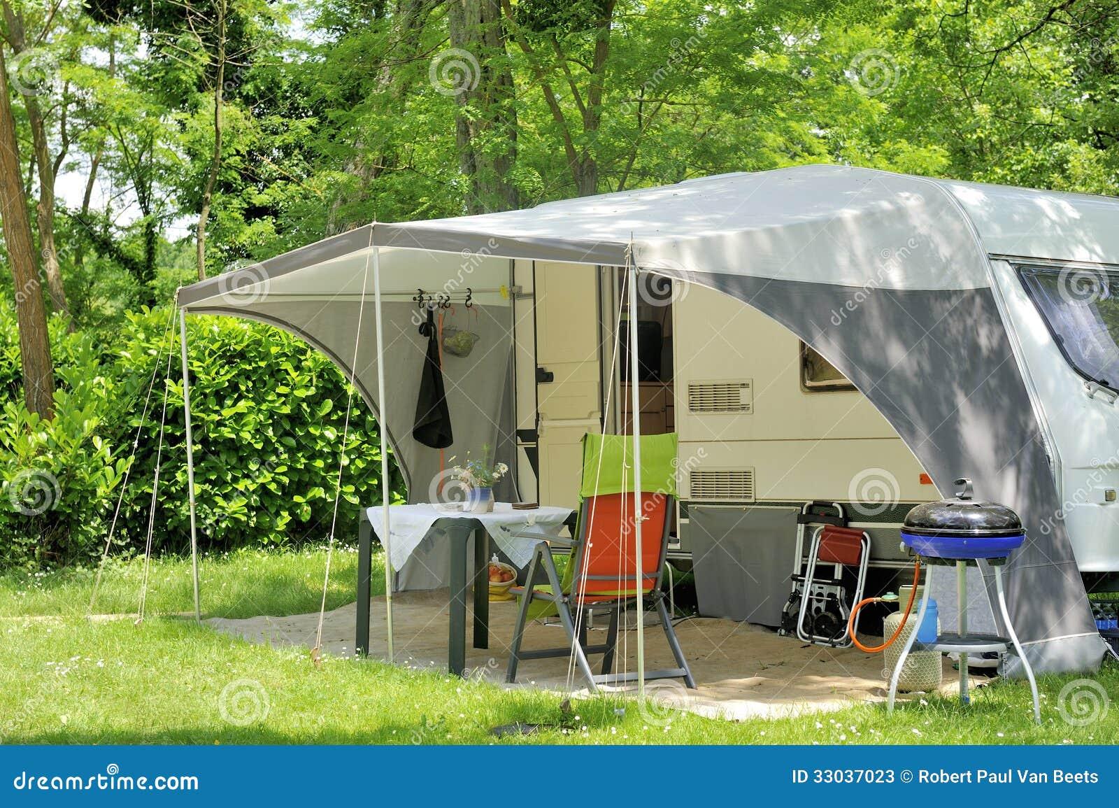 Caravan At A Camp Site Stock Photos Image 33037023