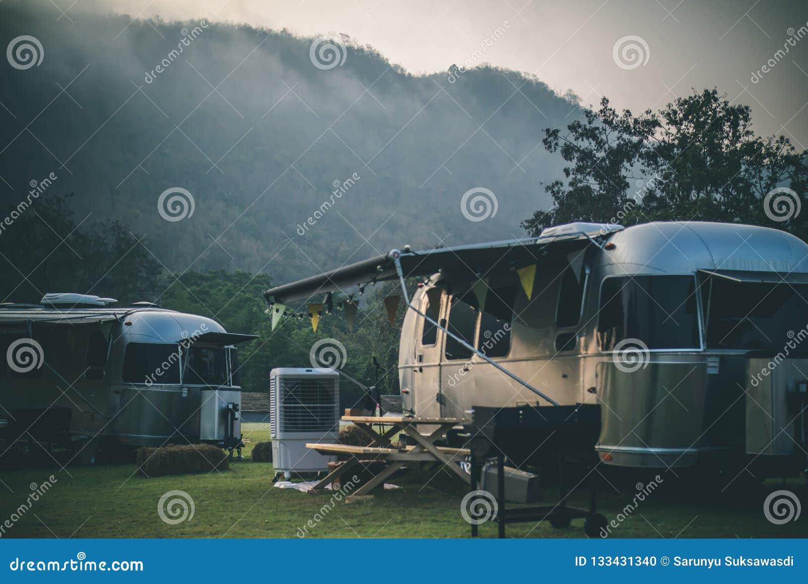 Caravan camping campsite stock photo  Image of camp - 133431340