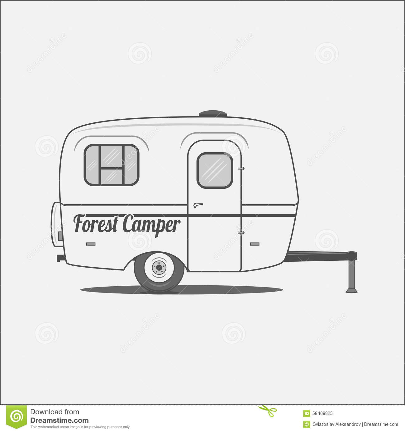 Caravan mobile house for camping stock vector image for Housse tyvek camping car