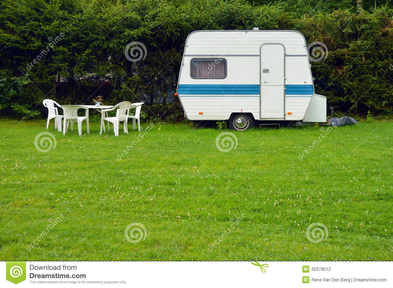 Stock Photography Caravan Old Fashioned Garden Furniture Parked Garden
