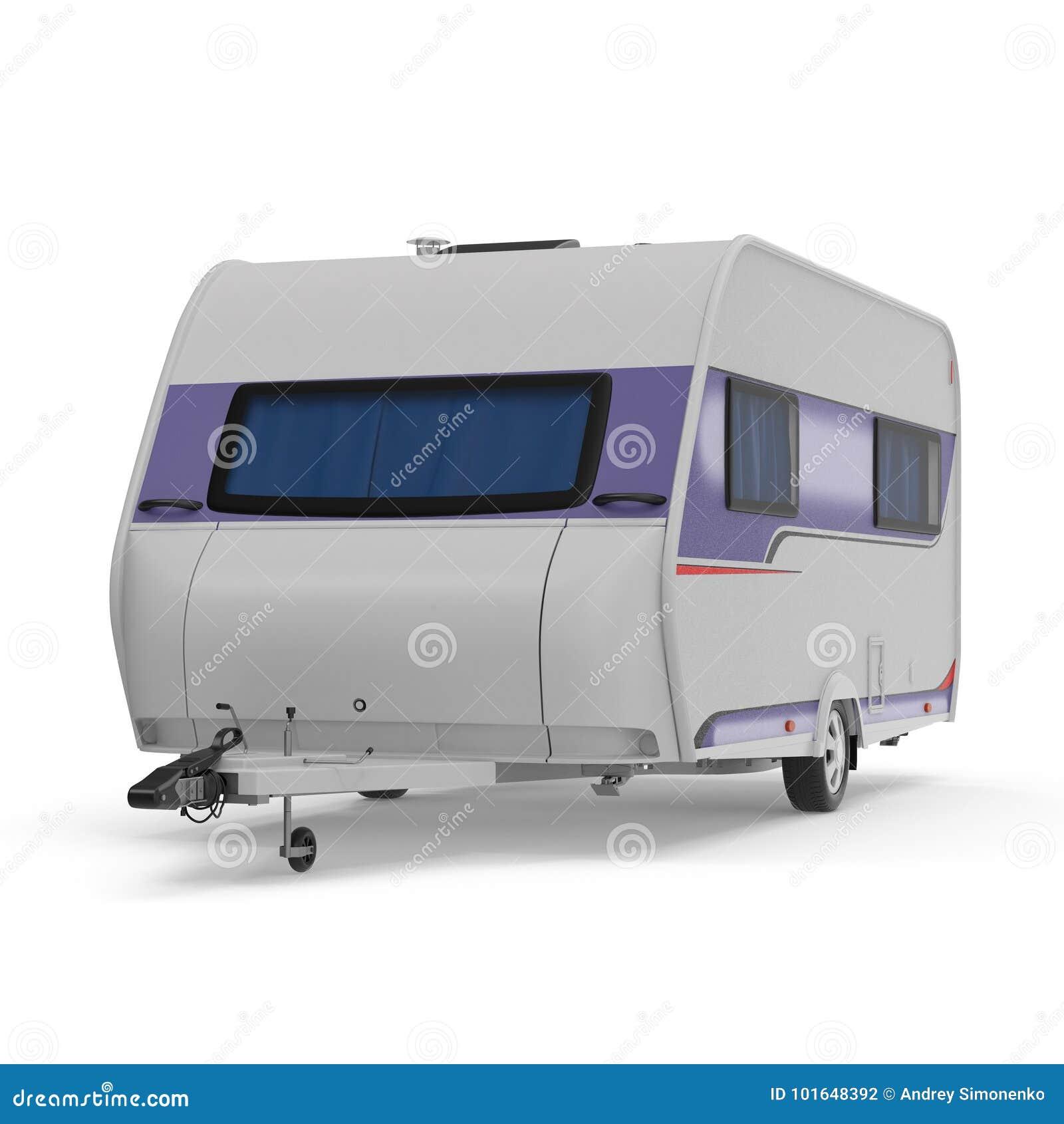 Caravan Trailer on white. 3D illustration