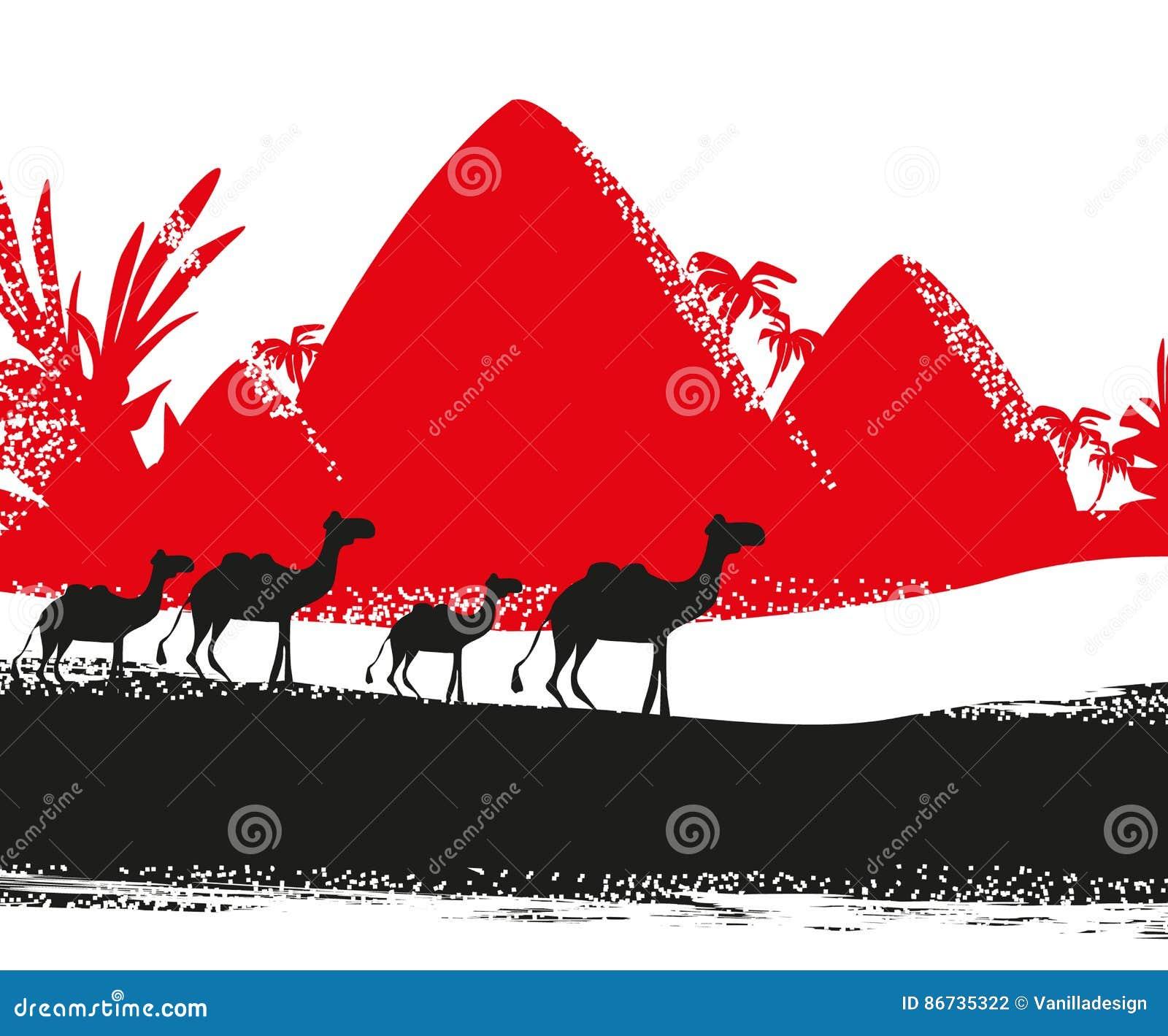 Caravane de chameau en Afrique sauvage