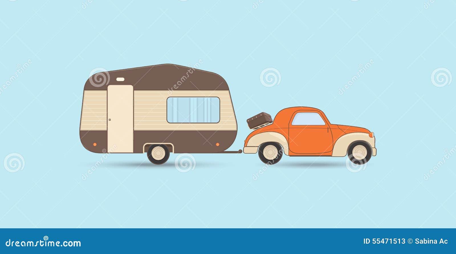 caravane et voiture de camping de vintage illustration de. Black Bedroom Furniture Sets. Home Design Ideas