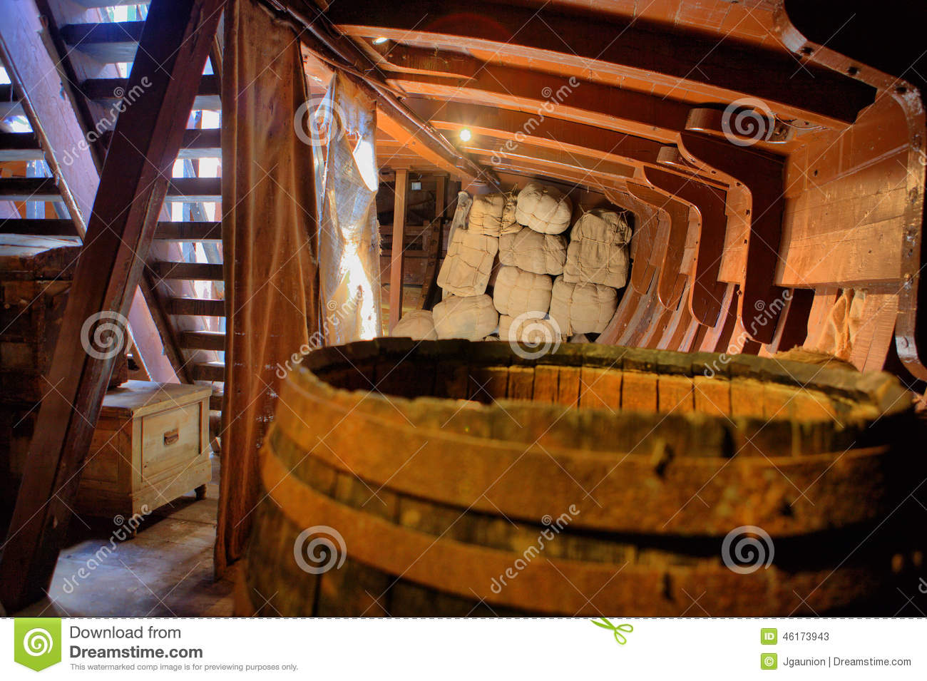 Caravel life inside stock image image of wood discovery for L interieur inside