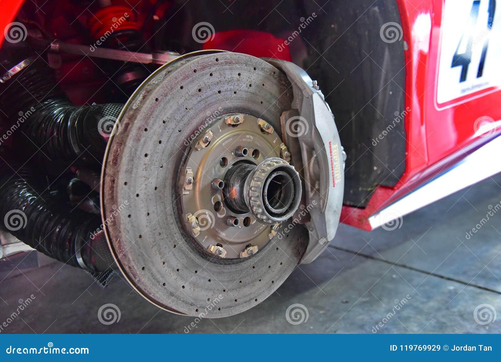 Carbon Ceramic Brake Disc Of A Ferrari 488 Challenge Car At Ferrari