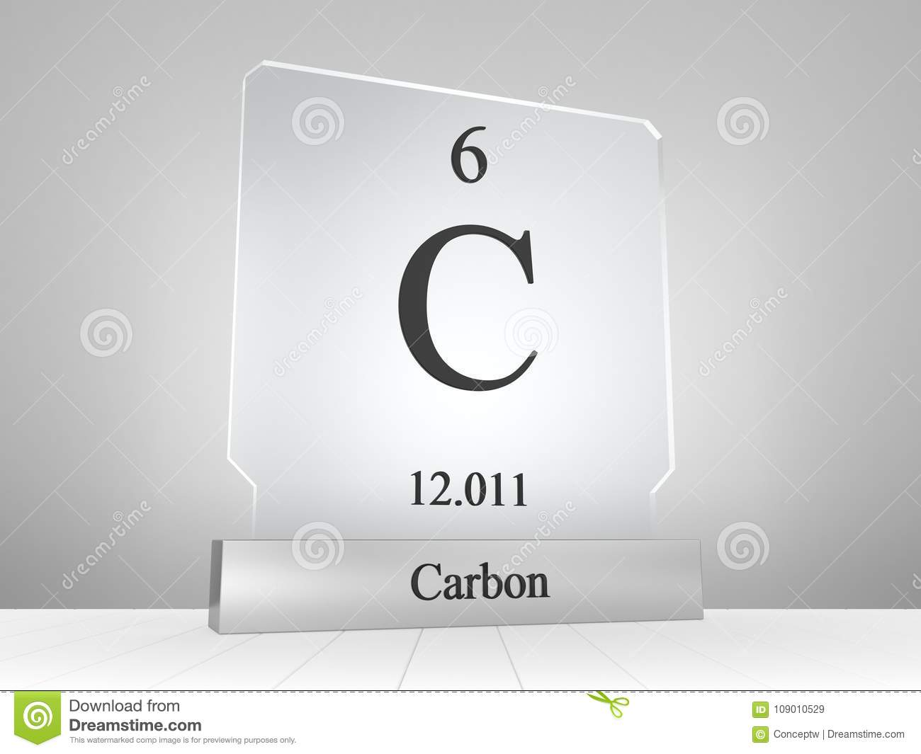 Carbon Symbol On Modern Glass And Metal Icon Stock Illustration
