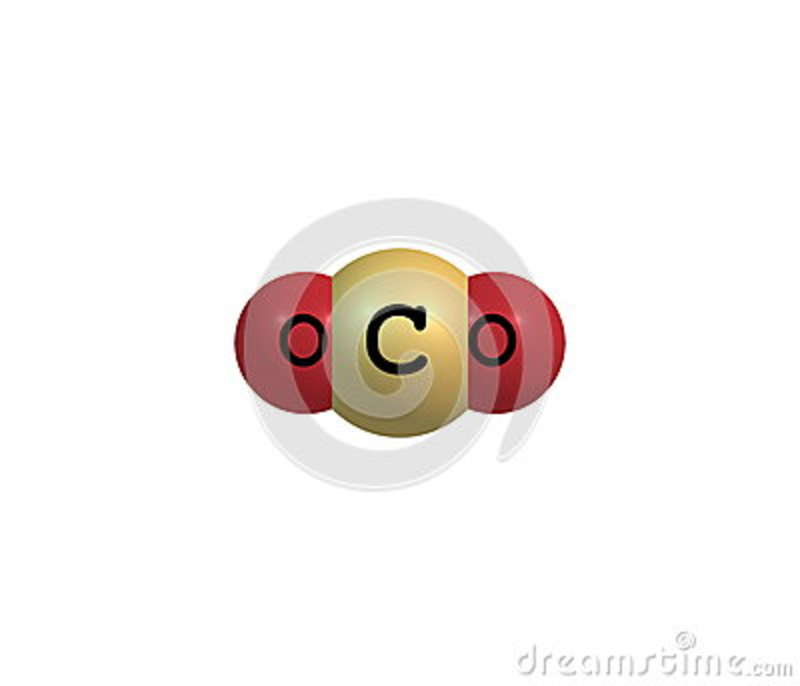 Carbon dioxide molecular structure isolated on white