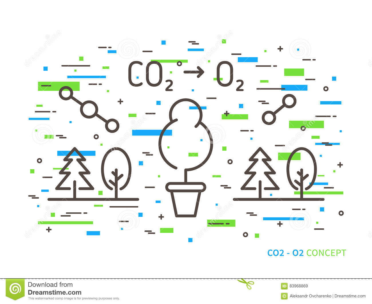 Carbon dioxide to oxygen linear vector illustration