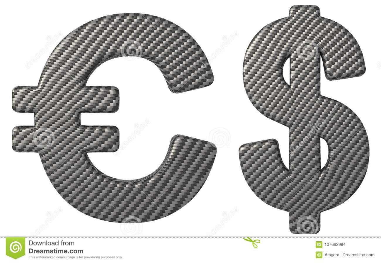 Carbon Fiber Font Us Dollar And Euro Symbols Stock Illustration