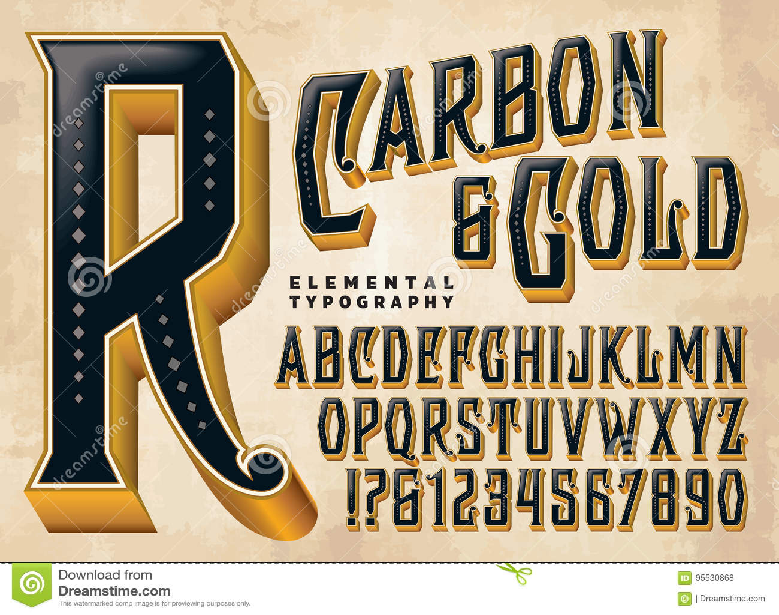 Carbon  U0026 Gold Custom Alphabet Stock Vector