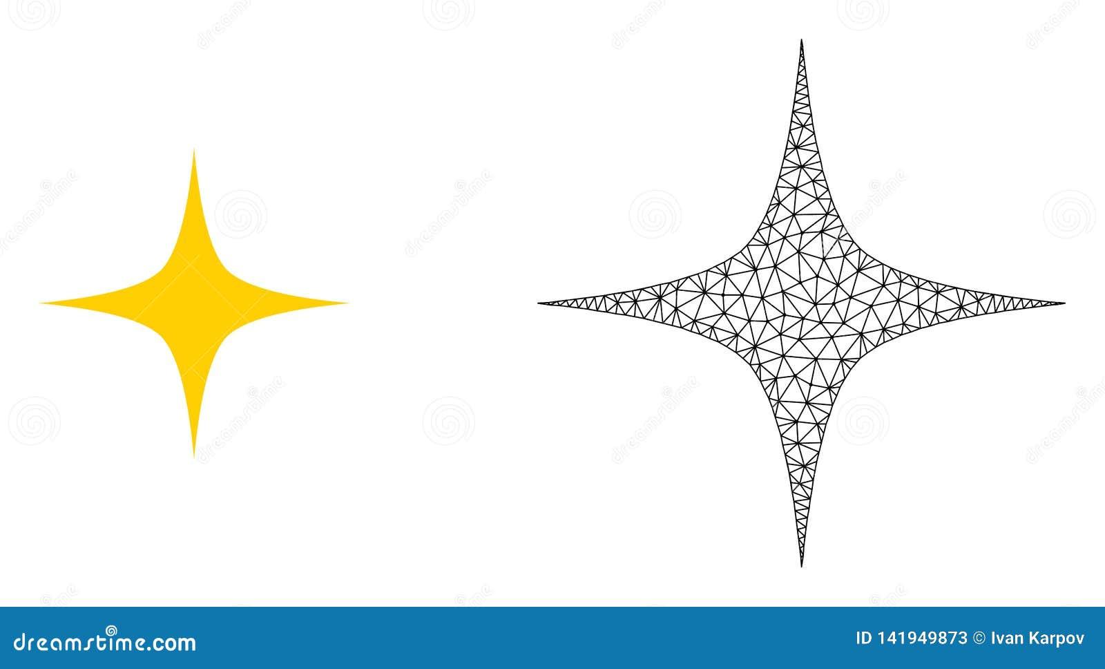 Carcasse Mesh Space Star de vecteur et icône plate