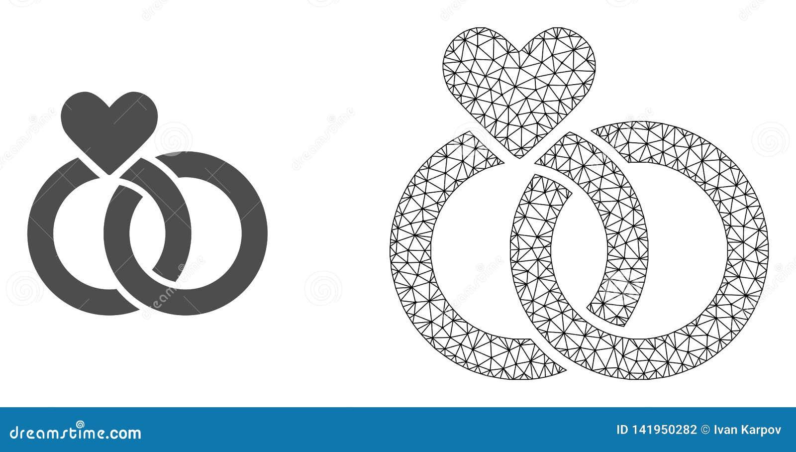 Carcasse Mesh Wedding Rings de vecteur et icône plate