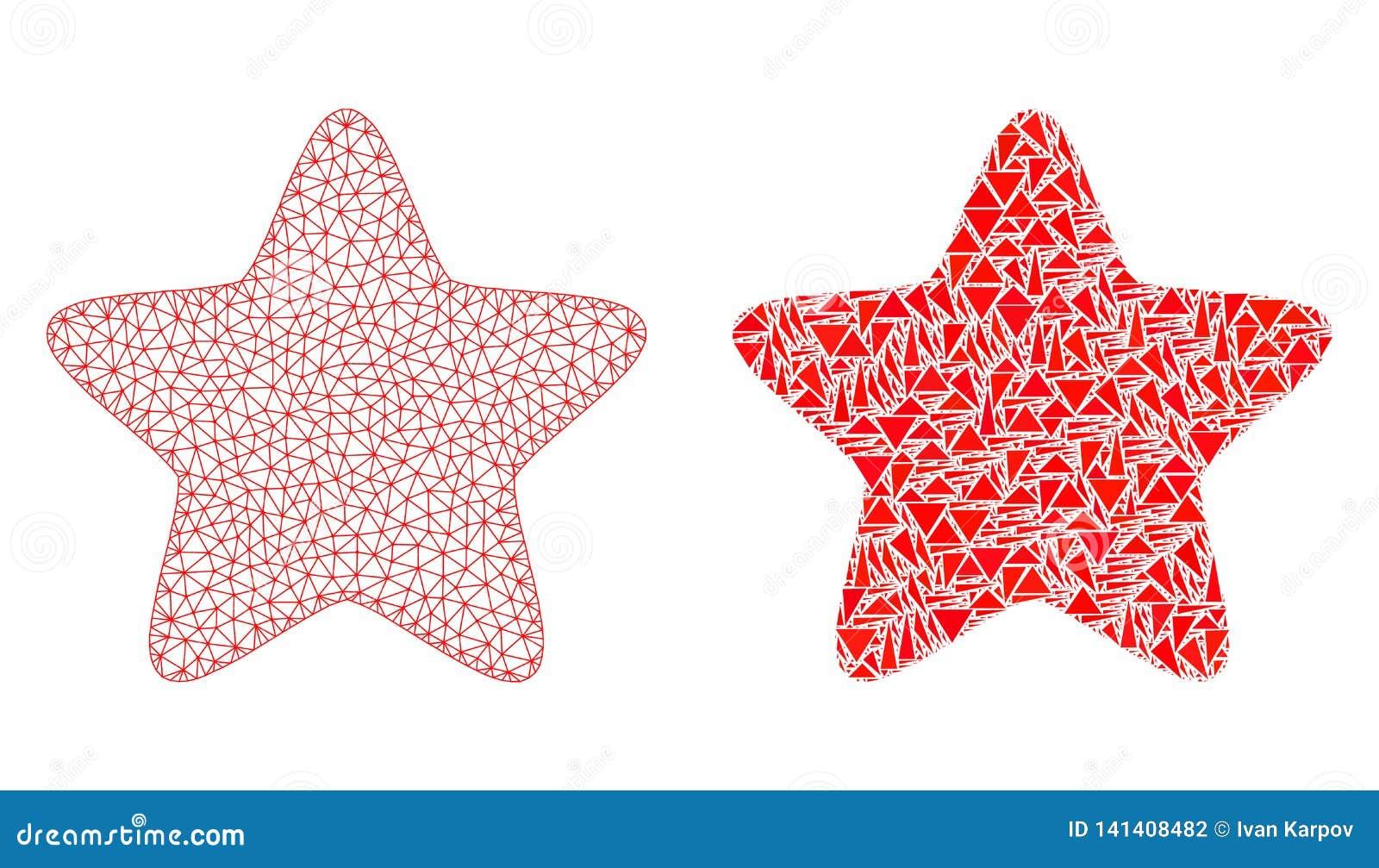 Carcasse polygonale Mesh Red Star et icône de mosaïque