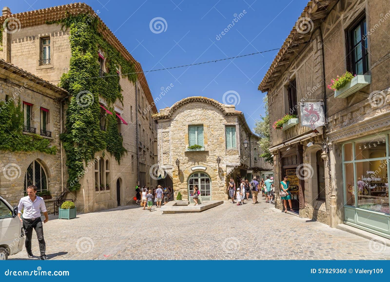 Carcassonne France Une Des Rues De La Vieille Ville Image