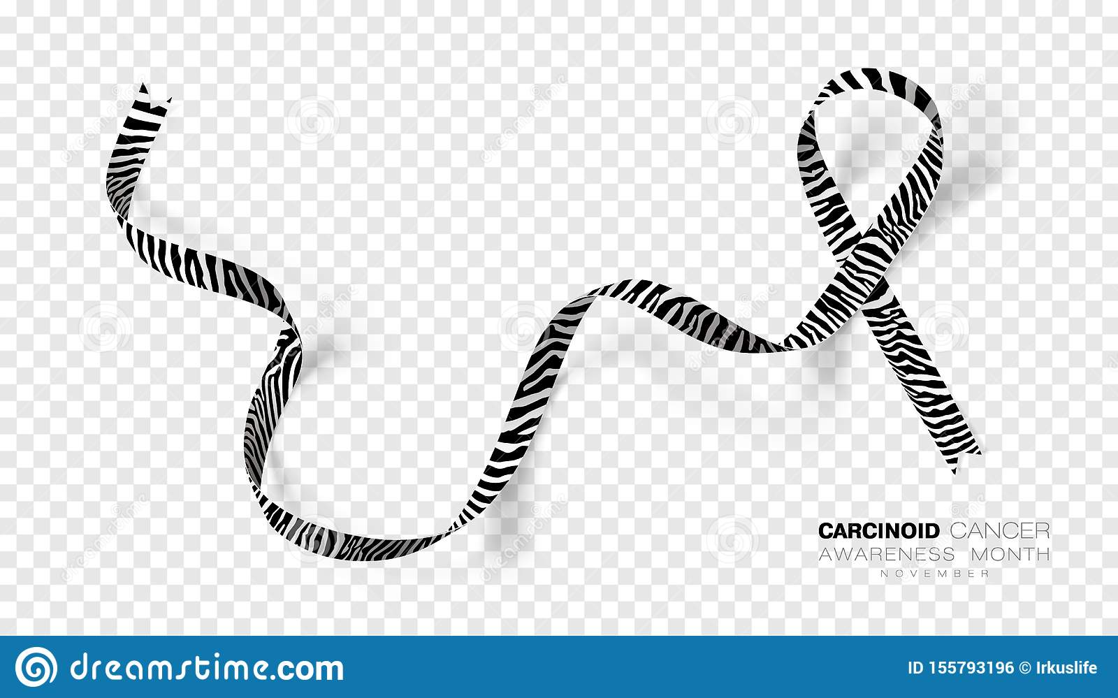 Carcinoid Cancer Awareness Month. Zebra Stripe Color Ribbon Isolated On Transparent Background. Vector Design Template