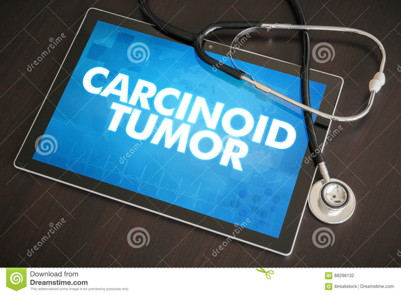 Carcinoid tumor (cancer related) diagnosis medical concept on ta