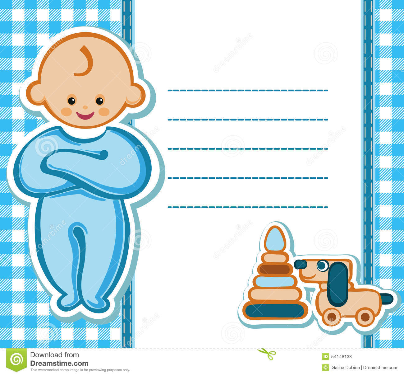 Card For Baby Boy Stock Vector Illustration Of Emotions 54148138