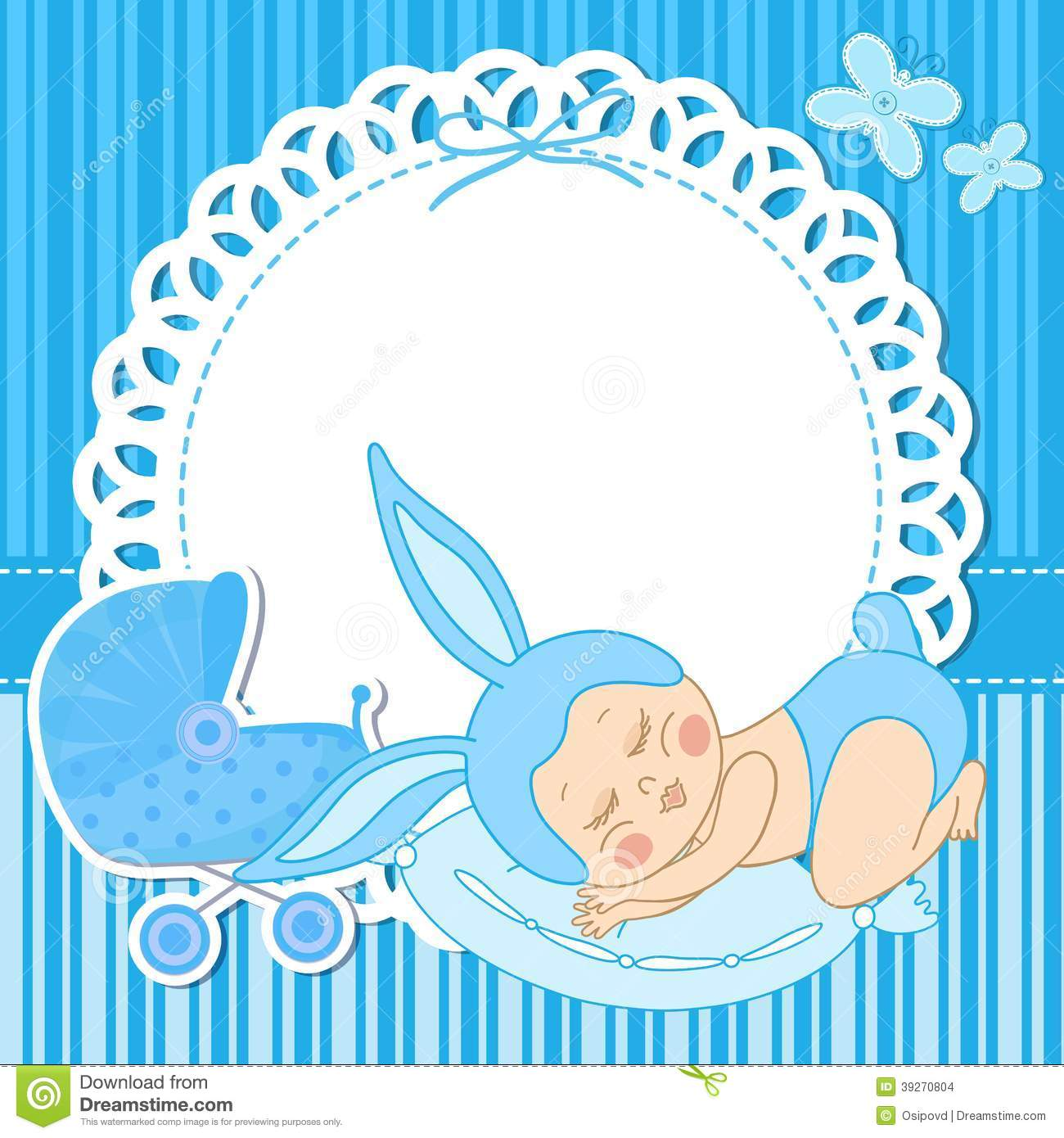 Baby bed for travel - Card With Baby Boy Born In Bunny Costume Stock Vector Image