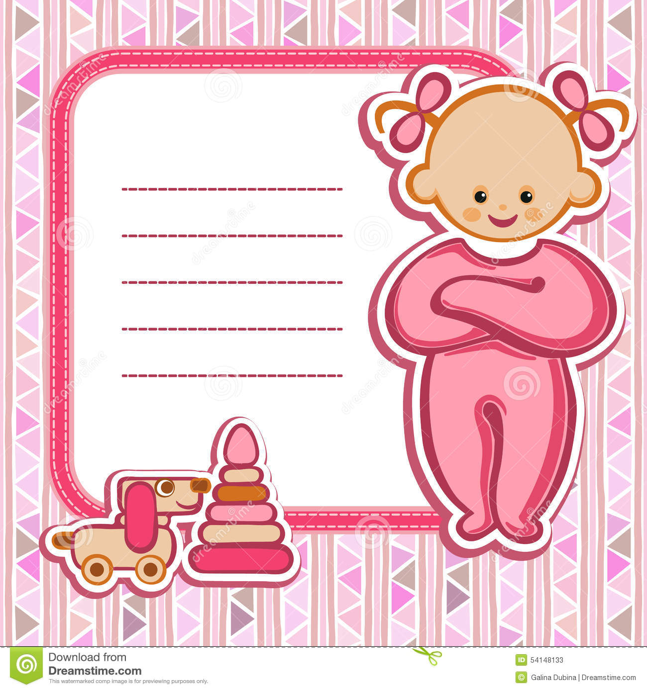 Card For Baby Girl Stock Vector Illustration Of Baby 54148133