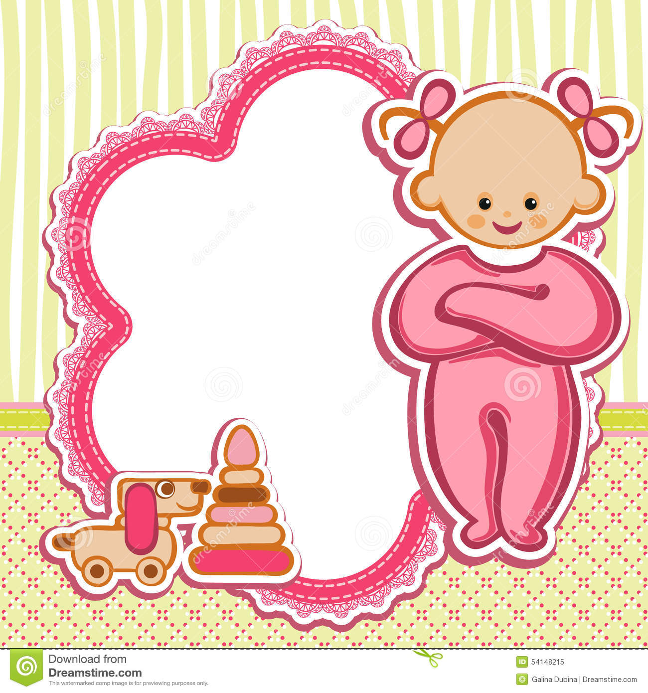 Baby girl birthday greetings images greeting card examples card for baby girl stock vector illustration of birth 54148215 card for baby girl kristyandbryce images kristyandbryce Images