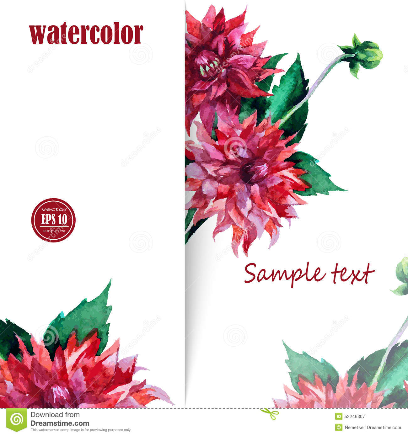 Card Background For Text With Hand Painted Flower Stock Vector Illustration Of Congratulation