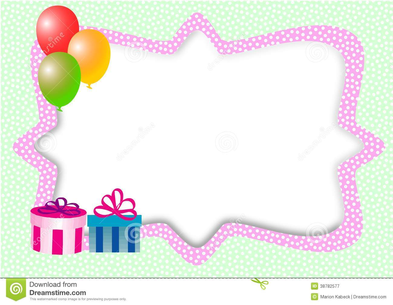 Card With Balloons, Gifts And Text Box Stock Illustration ...
