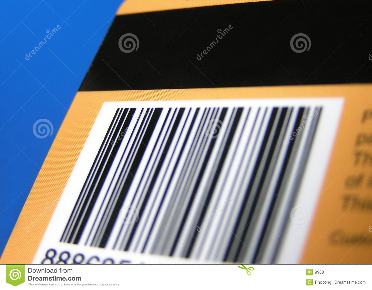 Card with barcode and stripe