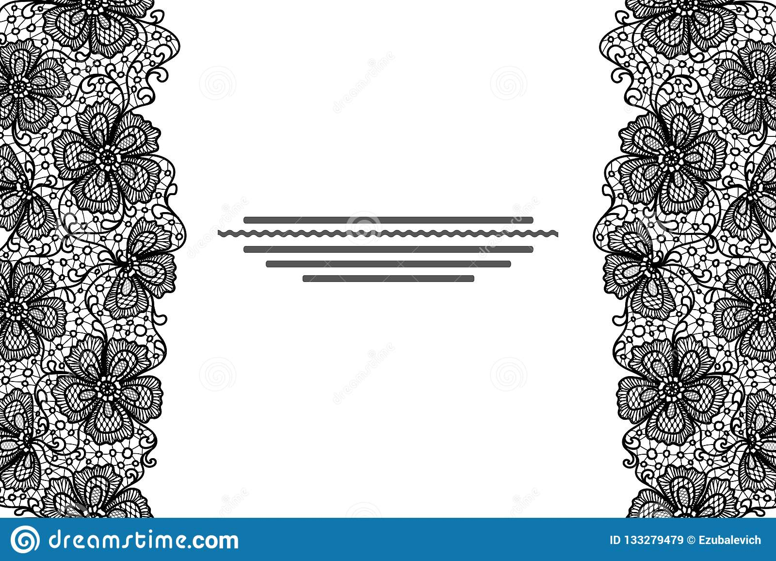 elegant card with black lace flowers border stock