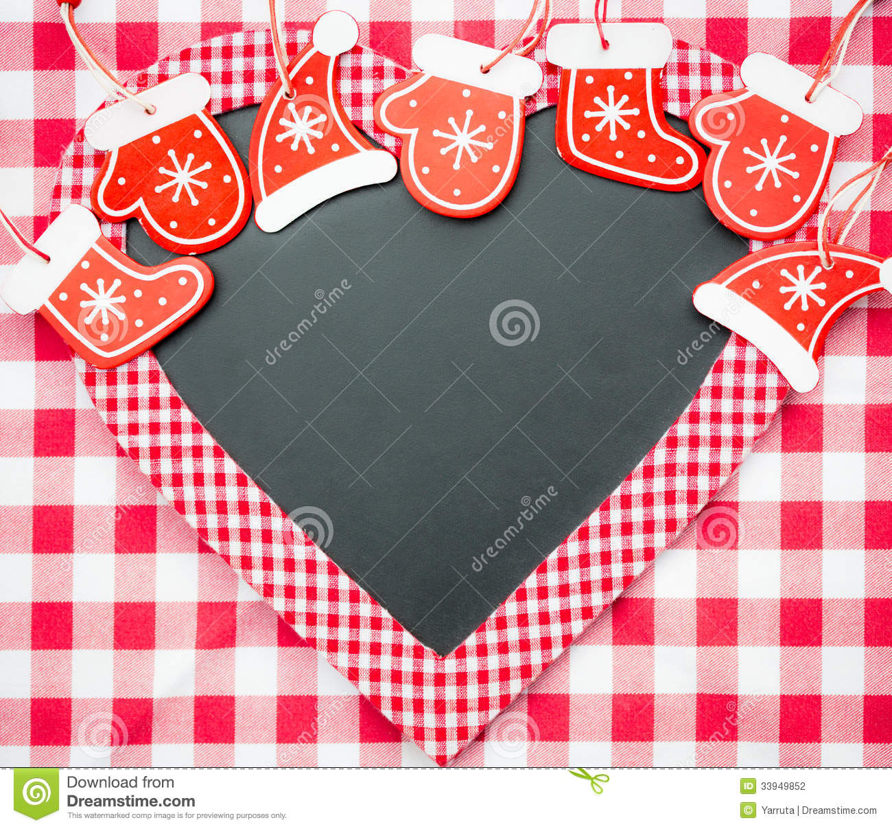 card blank in heart shape with christmas tree decorations