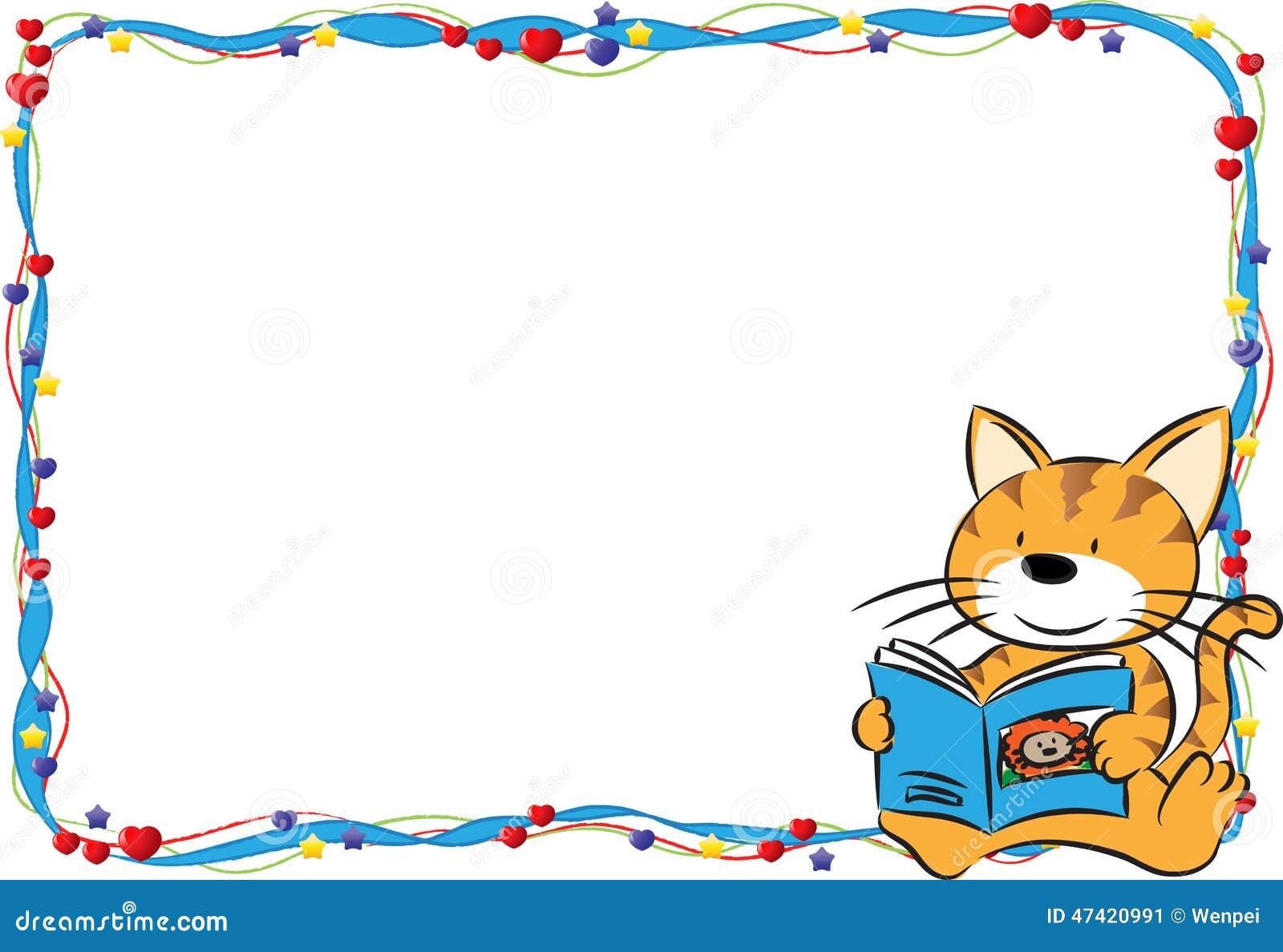 Cartoon Character Border Design : Card border frame stock illustration of book