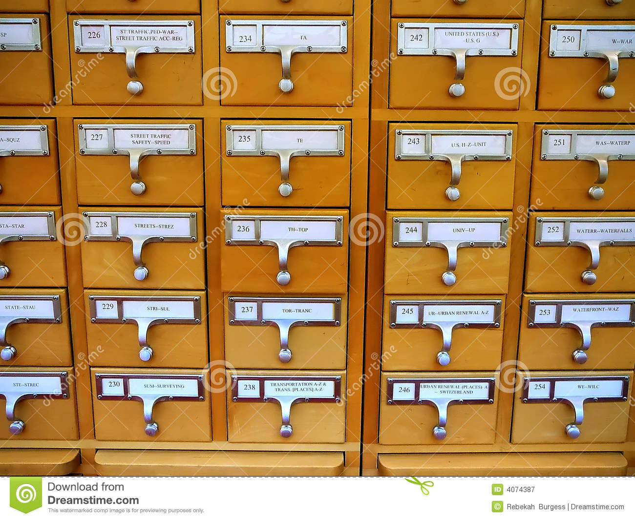 Card Catalog Cabinet In Academic Library Royalty Free Stock ...