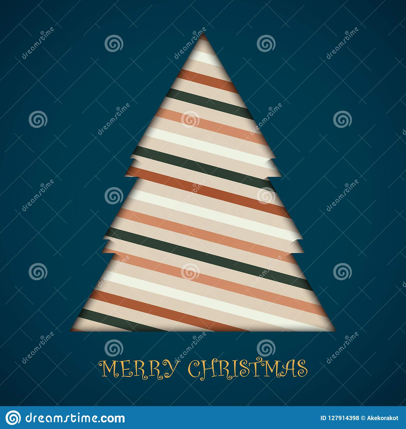 Card Of Christmas Tree Colorful Retro Stripe Lines Pattern Card