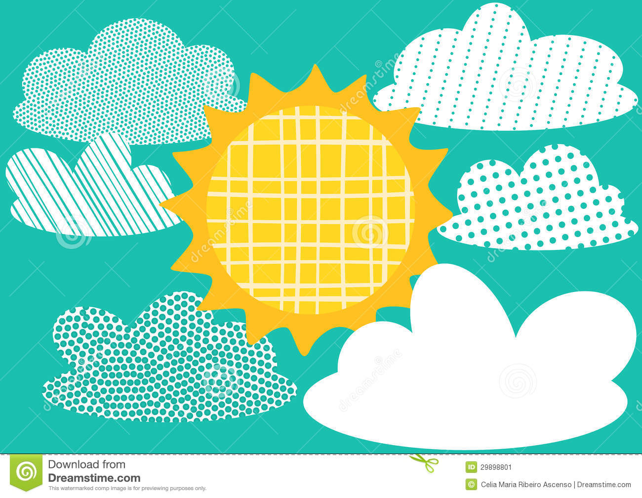 Greeting Card with Sun and Clouds