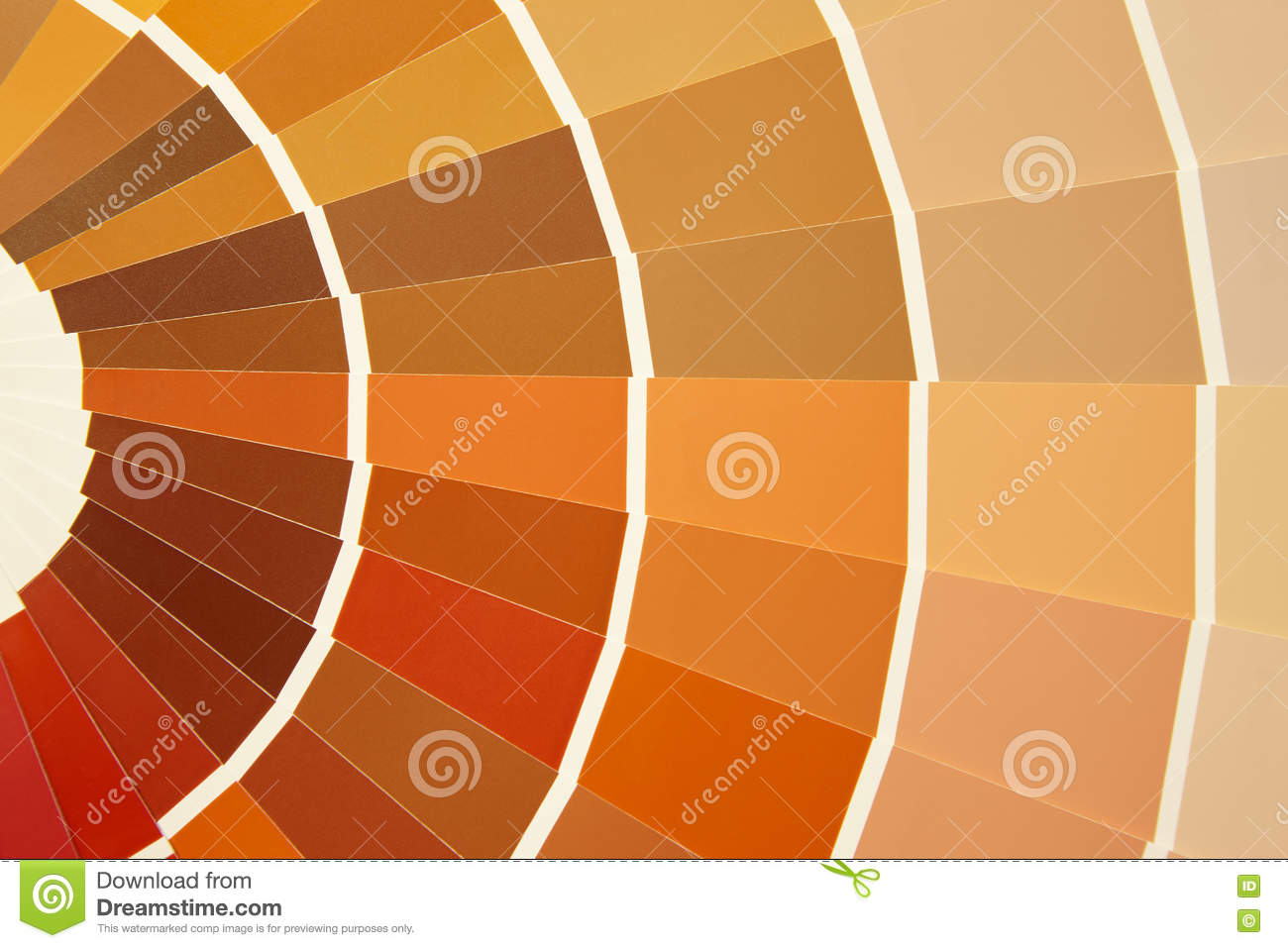 Card color palette in warm tones. Yellow orange brown