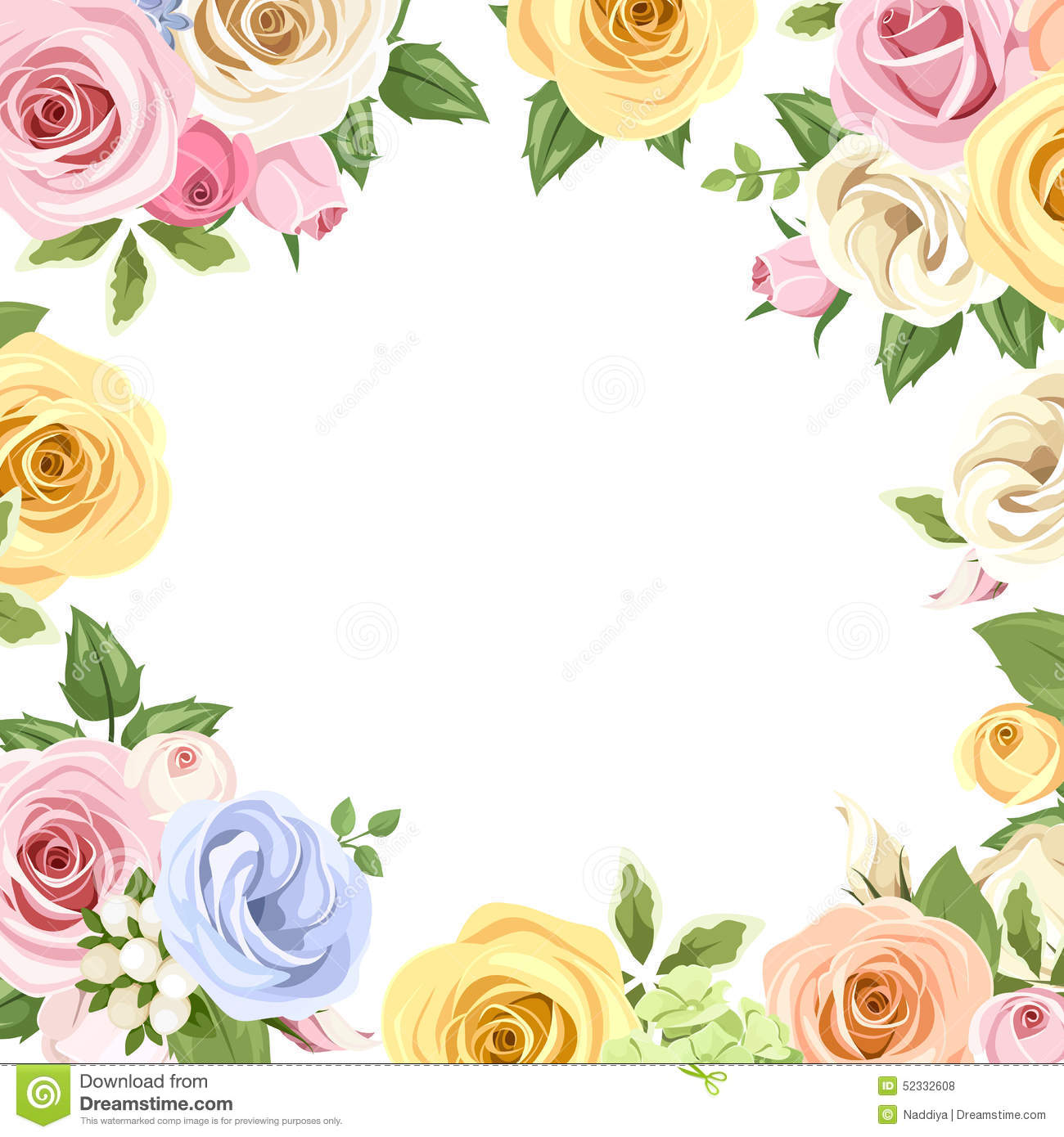 Card With Colorful Roses And Lisianthus Flowers. Vector ...