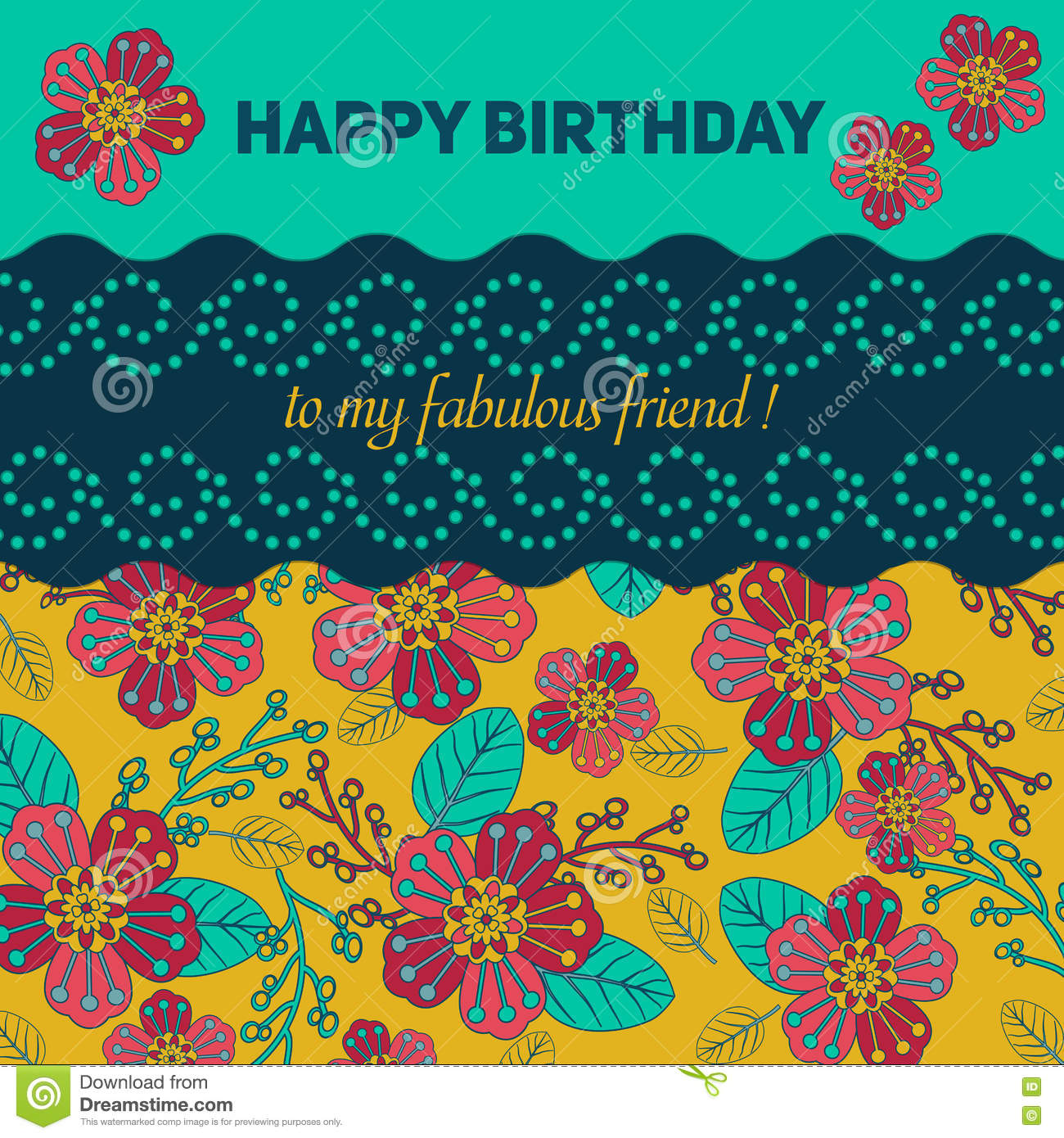 card for congratulation or invitation happy birthday decorated