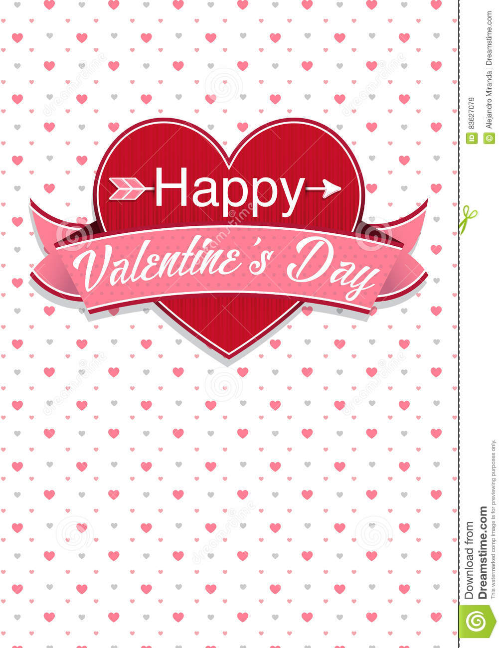 Card Cover With Message: Happy Valentines Day On A Red Heart ...
