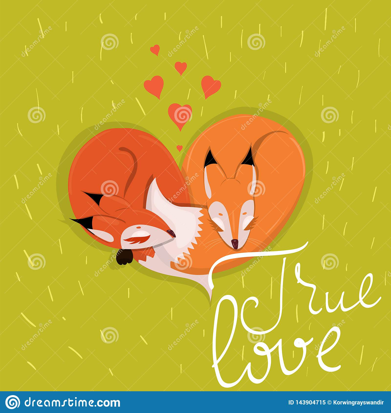 Card with cute enamored foxes sleeping on the meadow vector image