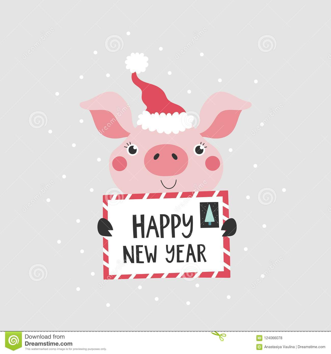 card with cute pig happy new year 2019