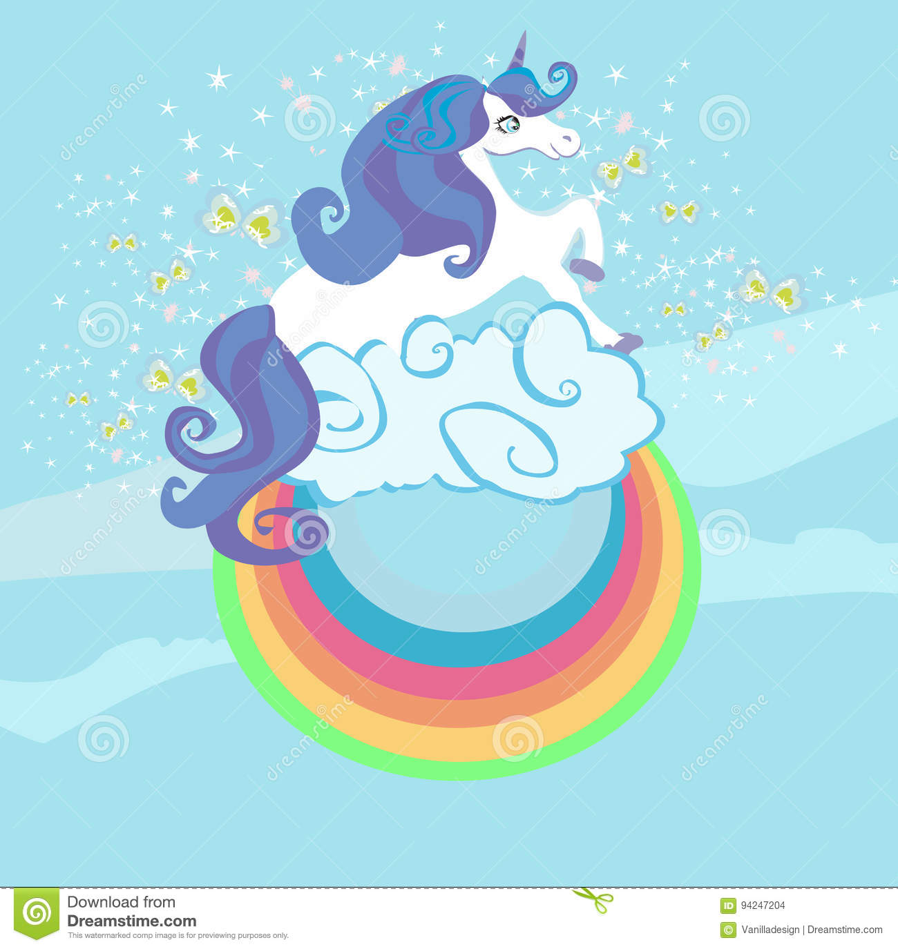 My Little Pony Home Decor Card With A Cute Unicorn Rainbow In The Clouds Stock