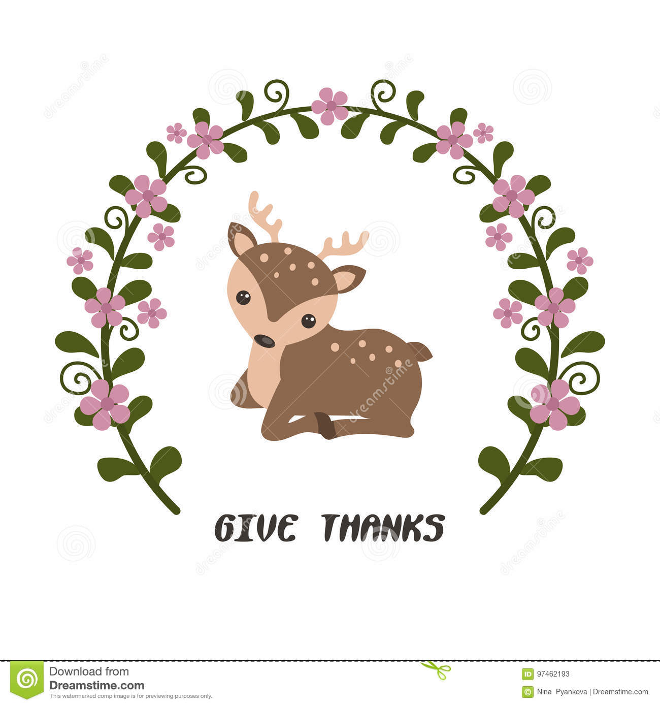Card with deer stock vector. Illustration of cute, decor - 97462193