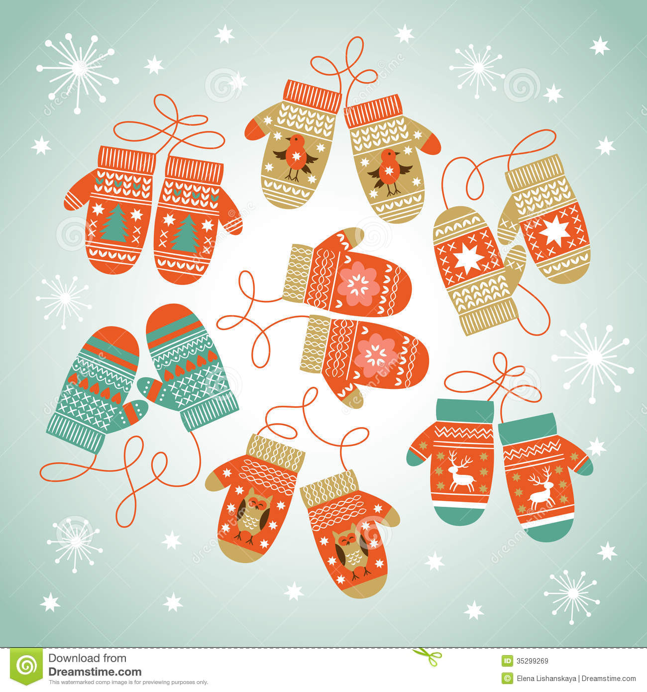 Card Design With Christmas Mittens Stock Vector - Image ...