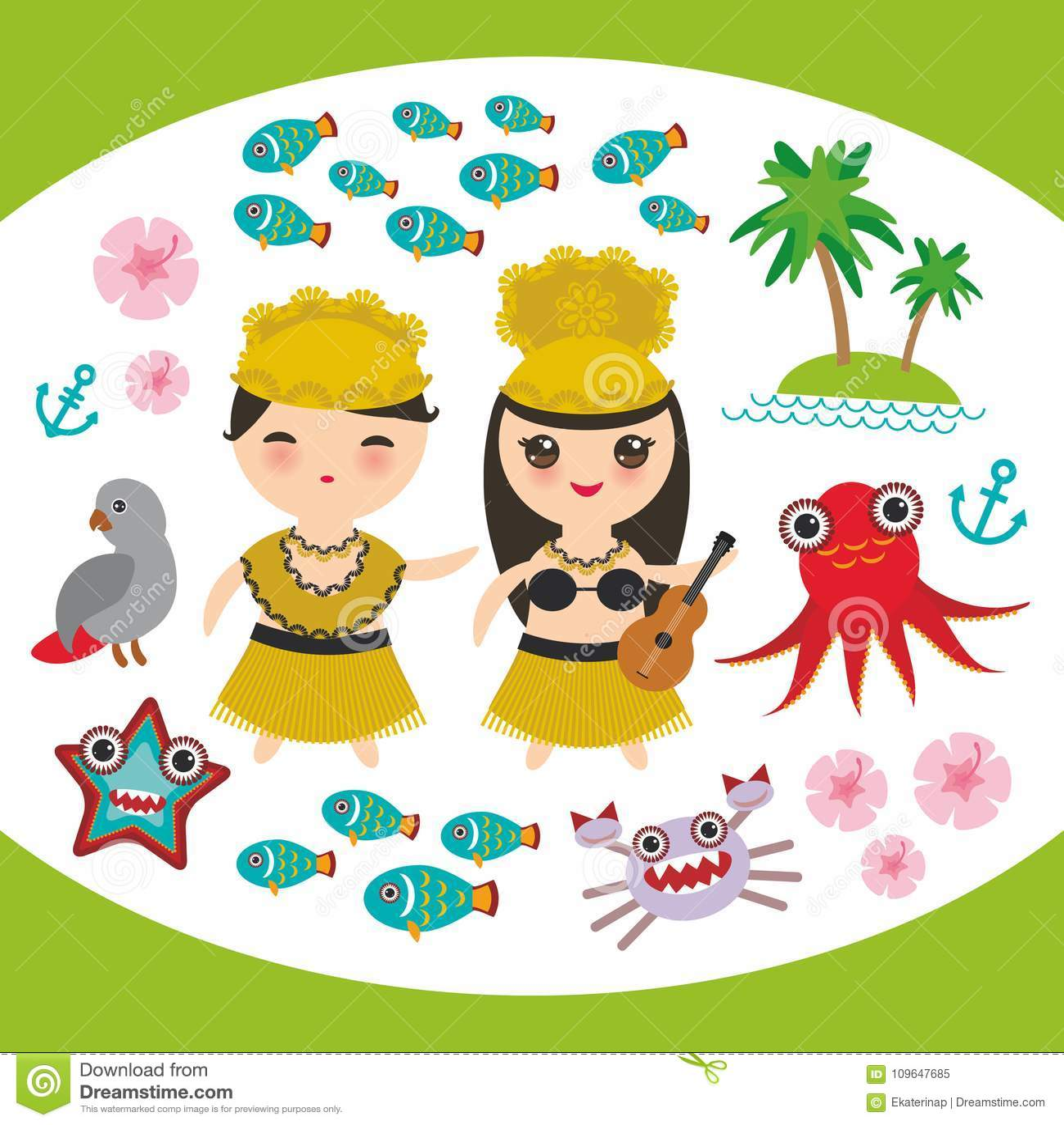 Card design hawaiian hula dancer kawaii boy girl set hawaii icons card design hawaiian hula dancer kawaii boy girl set hawaii icons symbols guitar ukulele flowers parrot fish crab octopus anchor f izmirmasajfo Gallery