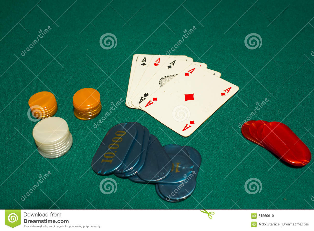 5 Card Draw Poker Four Aces Stock Photo Image Of Card Holdem