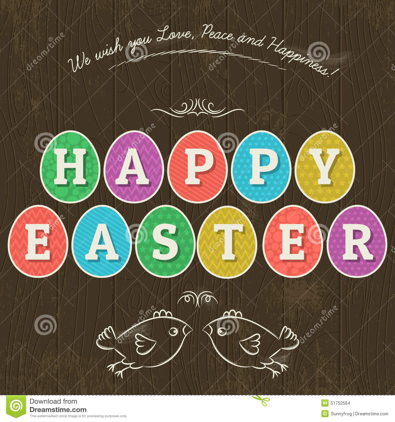 Card For Easter Day With Eleven Colored Eggs And Greetings Tex Stock