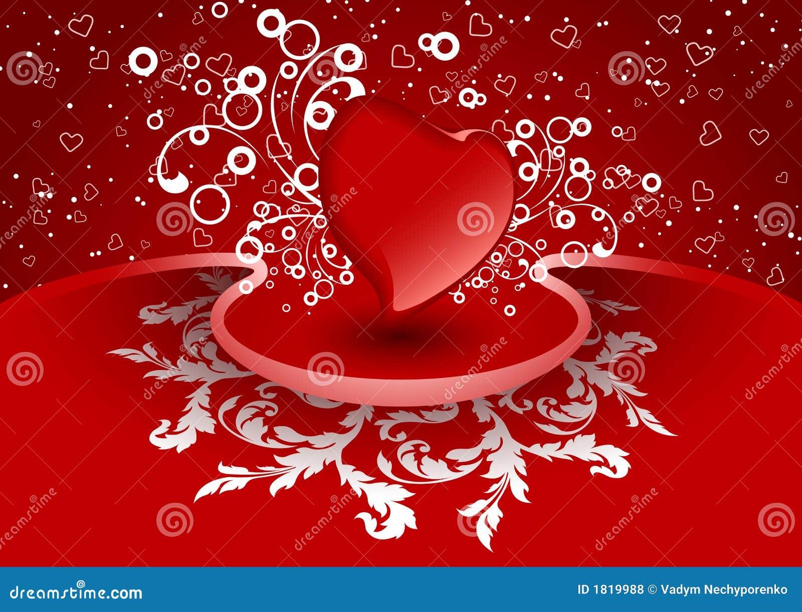 Card för idérik vektorn för valentinen hälsningshjärta för färg den röda