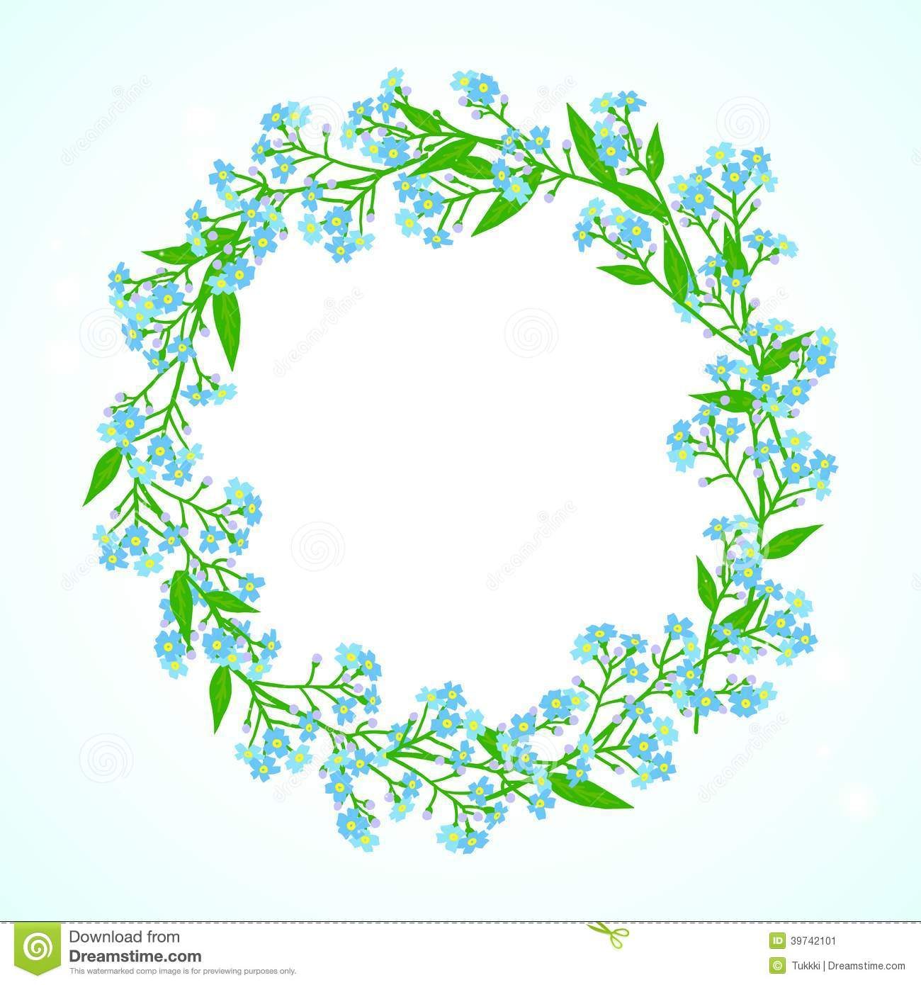 Card With Forget Me Not Flowers Wreath Stock Vector