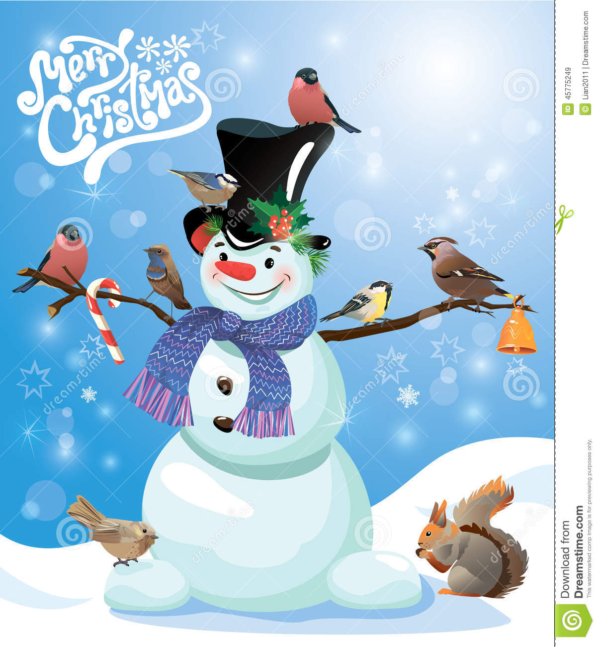 Card With Funny Snowman And Birds On Blue Snow Background Stock Vector - Imag...